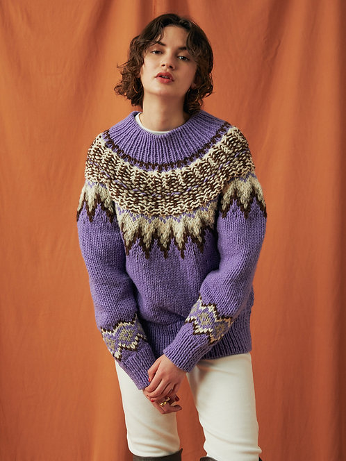 Nordic pattern Hand knitting Turtleneck Pullover