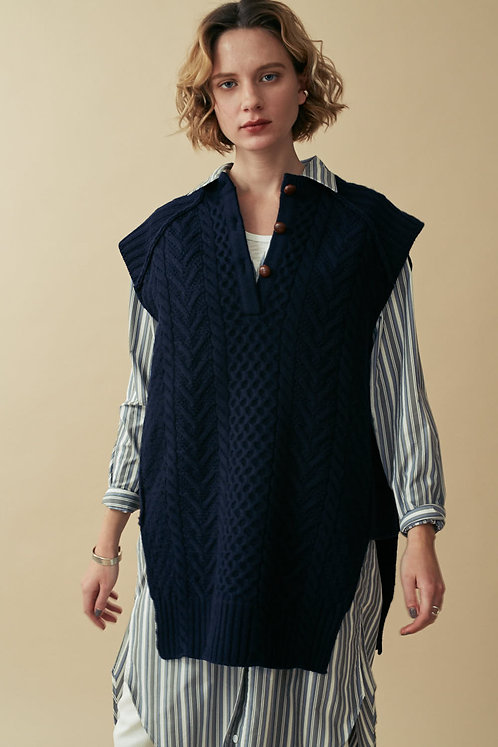 2way Aran Knit Vest -SALE-