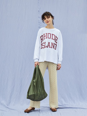 RHODE ISLAND sweat¥20,000+tax. crochet knit pants¥15,000+tax. packable eco bag¥3,000+tax.
