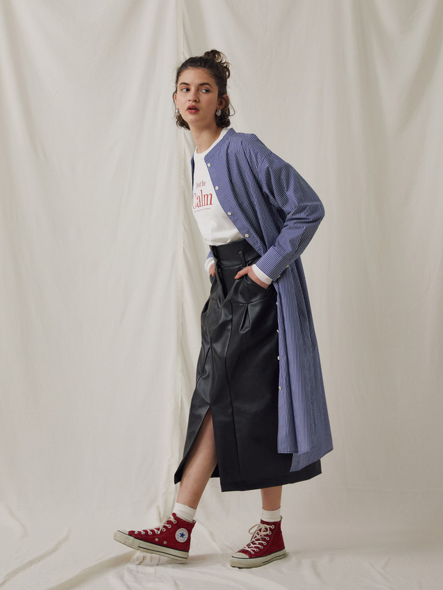 "Stripe pattern Shirt one piece ¥23,000+tax. ""CALM""Long sleeve Tee ¥8,000+tax. PU Leather Skirt ¥23,000+tax."