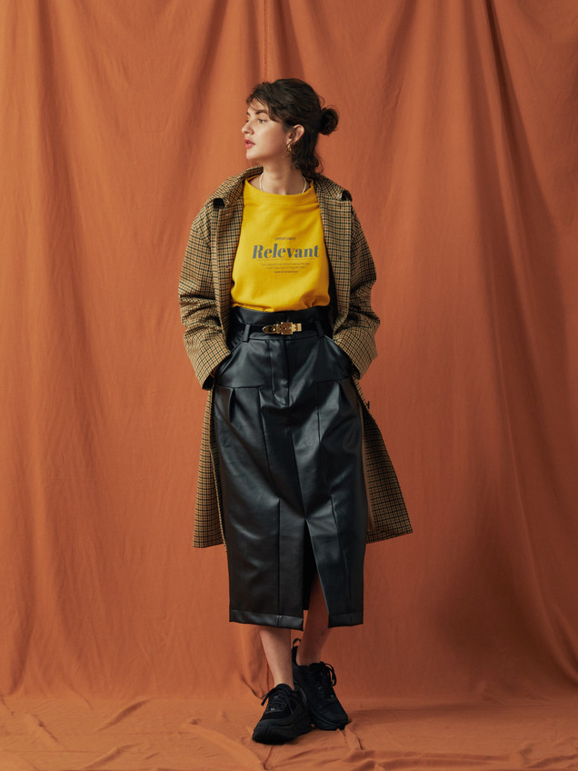 "Check pattern jaquard Stand Fall Coller Cort ¥35,000+tax. ""Relevant""Sweat ¥13,000+tax PU Leather Skirt ¥23,000+tax."
