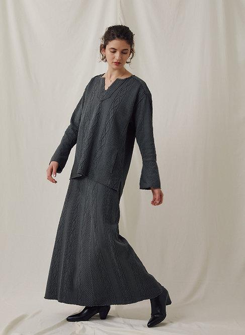Cable jacquard Cut&Sewn Long Skirt