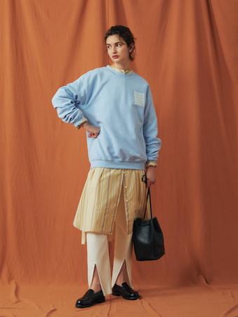 """""""ALTUS""""Circle Sweat ¥12,000+tax. Stripe pattern Shirt one piece ¥23,000+tax. Hot-Thermal Leggins Pants ¥9,000+tax."""