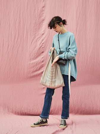 pigment big sweat¥16,000+tax. packable eco bag¥3,000+tax.