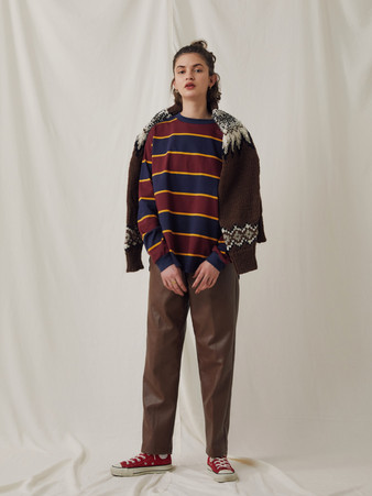 Nordic pattern Hand knitting Turtleneck Pullover ¥22,000+tax. Basque Rugger border Tops ¥13,000+tax. PU Leather pants ¥22,000+tax.