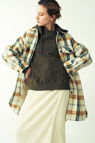 Shaggy Check pattern Shirt¥48,000+tax. Fake Suede Foodie¥15,000+tax. Big waffle Wrapped-skirt¥15,000+tax.