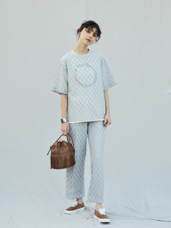 sheer check blouse¥17,000+tax. sheer check pants¥19,000+tax.