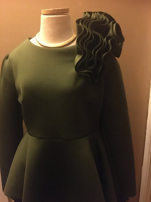 Army Green Top With Flower on Shoulder
