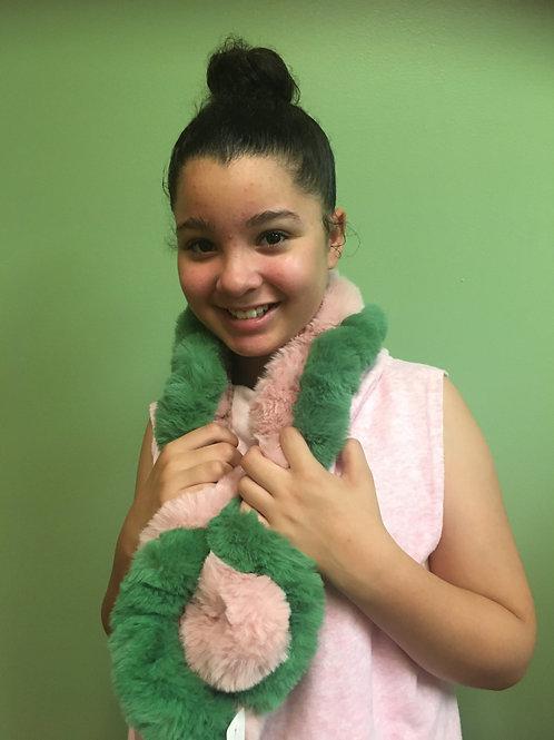 Pink & Green Faux Fur Scarf