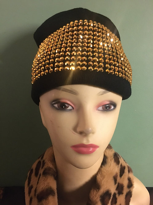 Embellished Black and Gold Beanie Hat