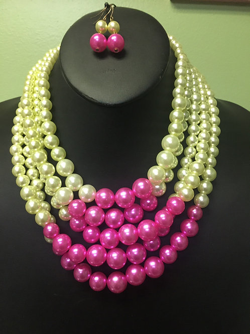Pink & Green Pearl Necklace/Earring Set