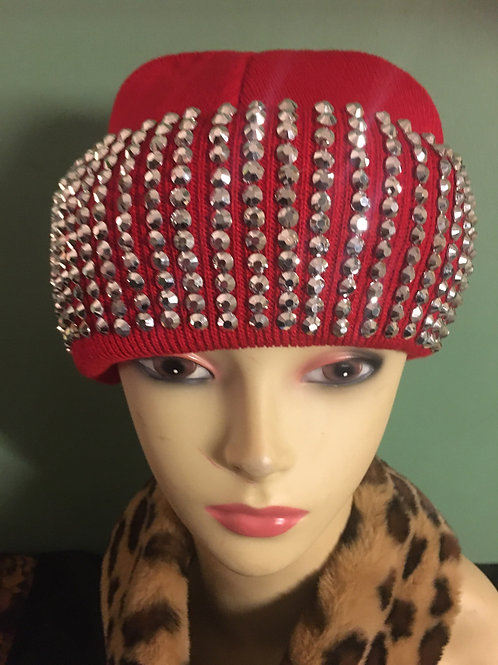 Embellished Red and Silver Beanie Hat