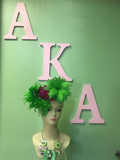 AKA Hot Pink& Green Fascinator