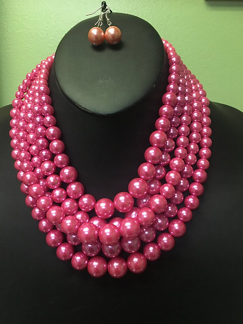 Hot Pink Pearl Necklace/Earring Set