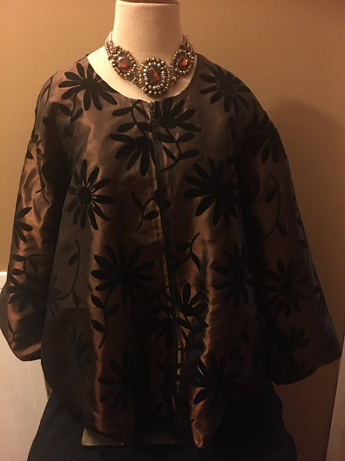 Brown Top with Black Flower Design