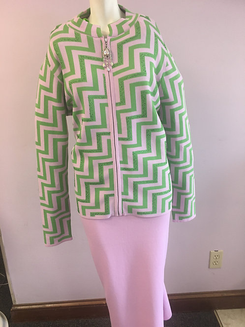 Pink & Green Two Piece Knit Suit