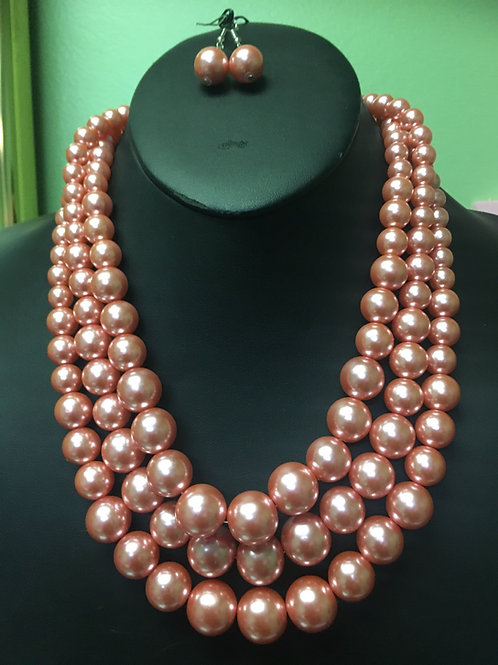 Pink Pearl Necklace/Earring Set