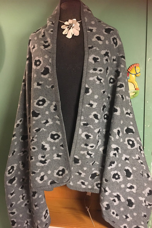 Grey Leopard Pattern Shawl Vest