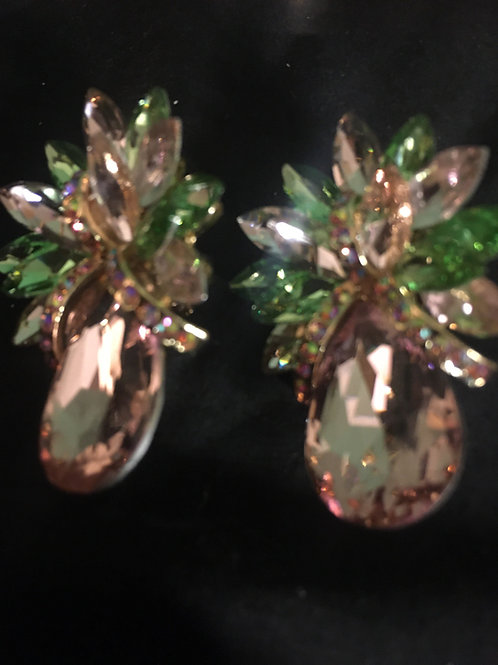 Pink and Green Clip On Crystal Earrings