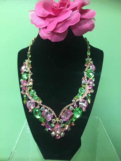 Pink and Green Crystal Necklace