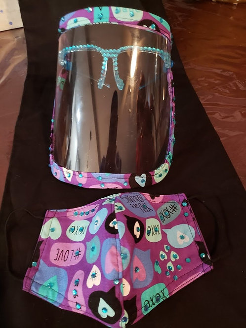 Love Face Mask and Face Shield with Bling Set