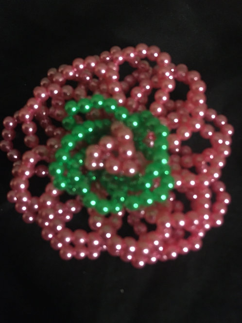 Pink and Green Pearl Brooch