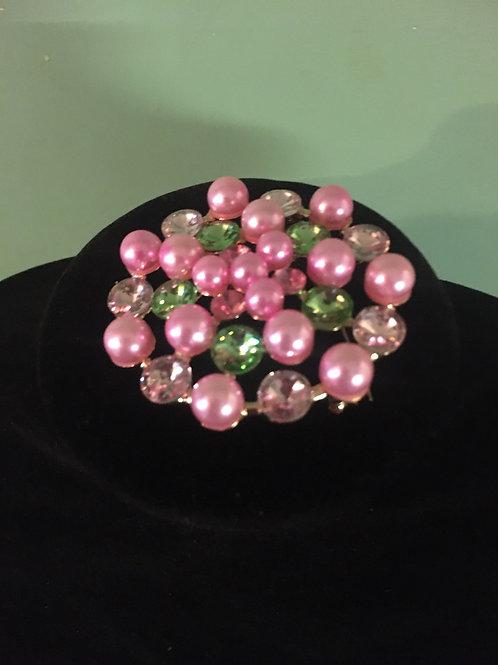 Pink & Green Brooch