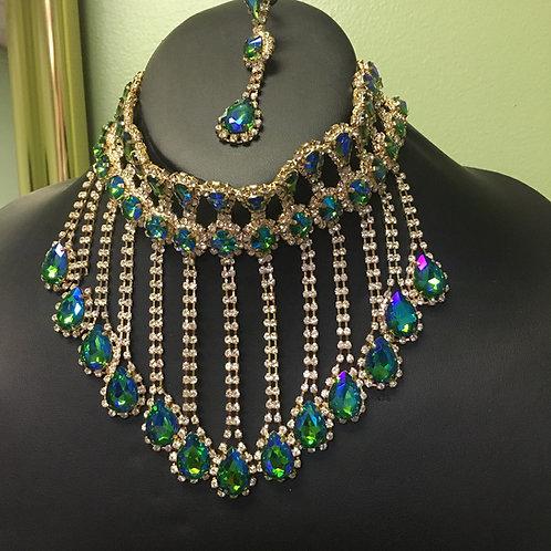 Iridescent Gold & Green Choker Necklace/Earring Set