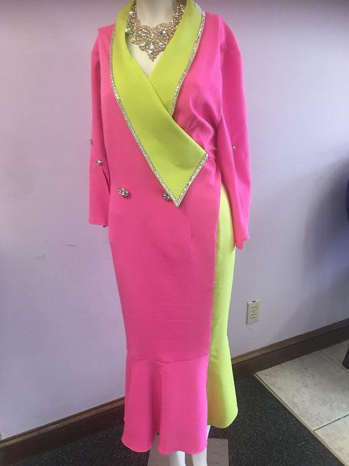 Fuchsia Pink & Green Donna Vinci Dress
