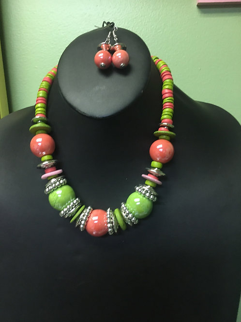 Pink & Green Necklace/Earring Set
