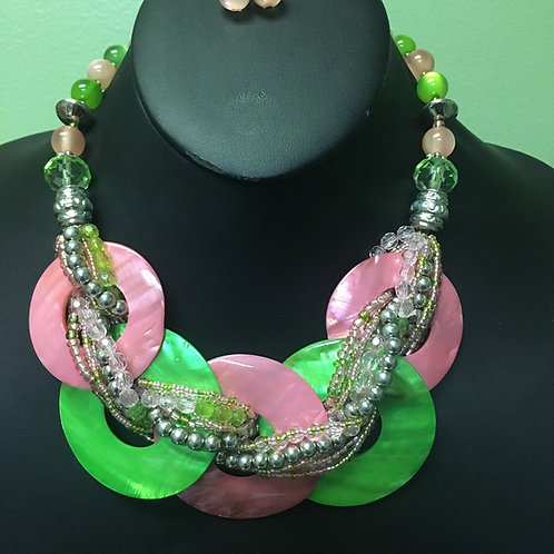 Pink & Green Shell Necklace/Earring Set