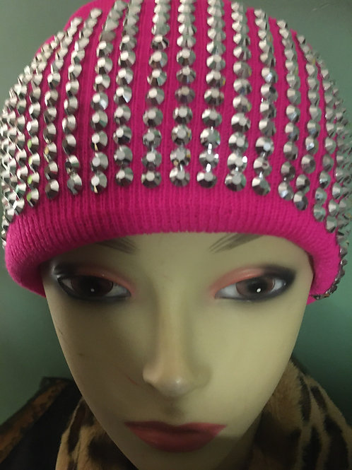 Embellished Hot Pink and Silver Beanie Hat