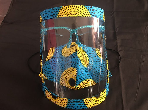 Blue & Yellow Face Mask and Face Shield with Bling Set