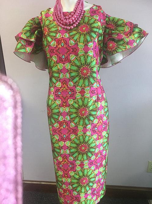 Fuchsia Pink & Green Dress with Ruffle Sleeves