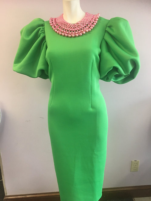 Apple Green Fashion Dress with Puff Sleeves