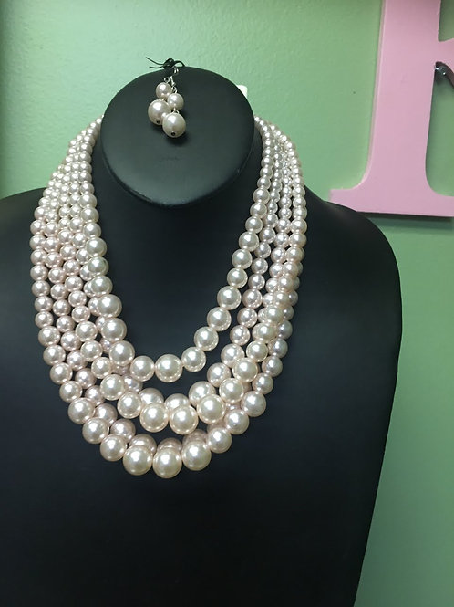 White Pearl Necklace/Earring Set