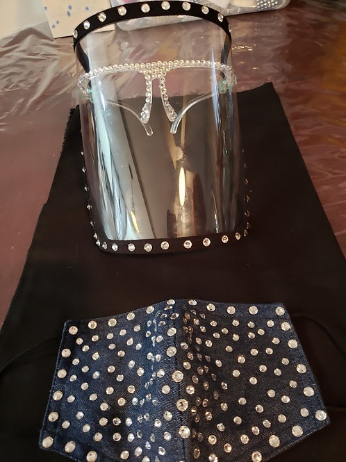 Black Face Mask and Face Shield with Bling Set