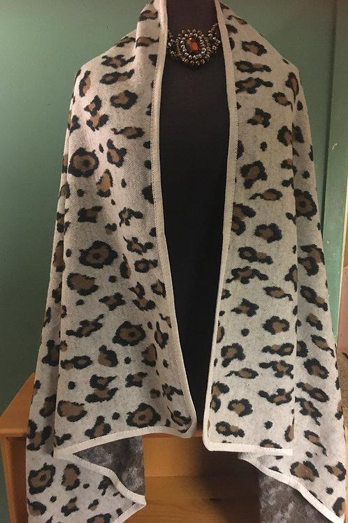 Leopard Pattern Shawl Vest
