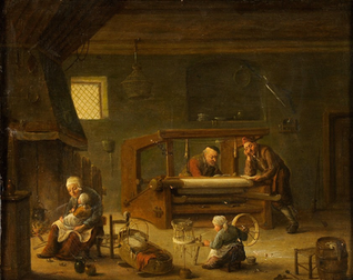 Dutch painting showing textile making in Leiden that the pilgrims were involved in