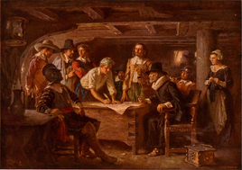 On arriving, the 'Mayflower Compact' was signed, establishing the first written rules for self-governance in the new world, a forerunner for the American Constitution.