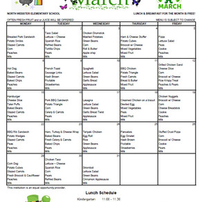 NWES March 2021 Lunch Menu