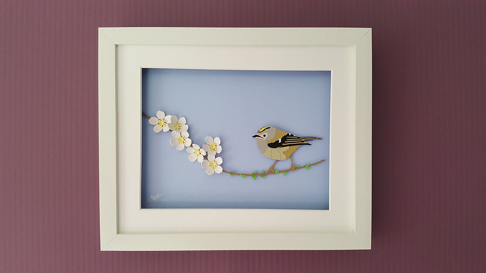 Goldcrest on Blossom Branch Richard Danson Art Birds on Branches series Wall 1 3D Bird Art Bird and Nature Art