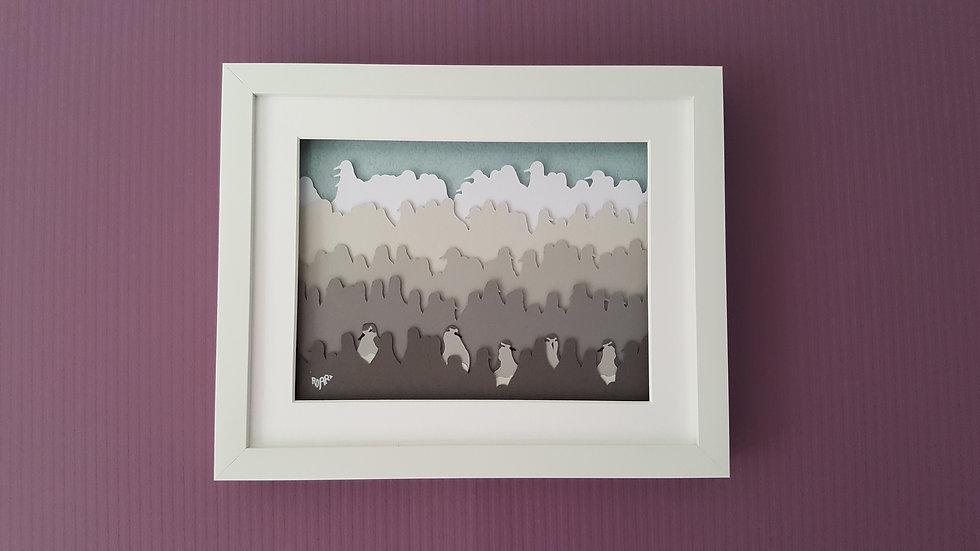 Flock of Knots Layered Images Richard Danson Art Wall 1 3D Bird Art Bird and Nature Art