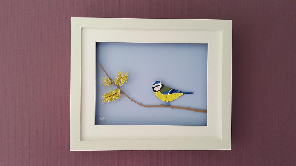 Blue Tit on Catkin Branch Richard Danson Art Birds on Branches series Wall 1 3D Bird Art Bird and Nature Art
