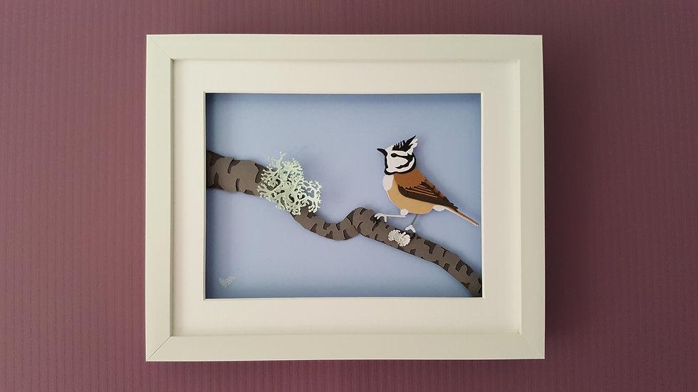 Crested Tit on Lichen Branch Richard Danson Art Birds on Branches series Wall 1 3D Bird Art Bird and Nature Art