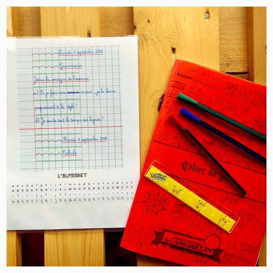 Présentation du cahier du jour et alphabet 📝