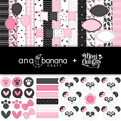 Panda Bear Black and Pink Digital Kit