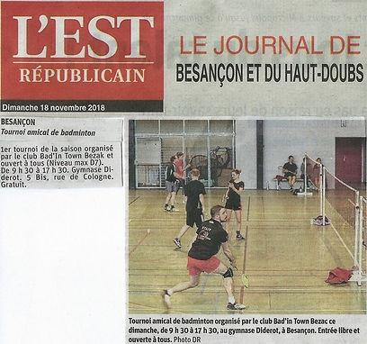 Article Est Républicain Tournoi BTB