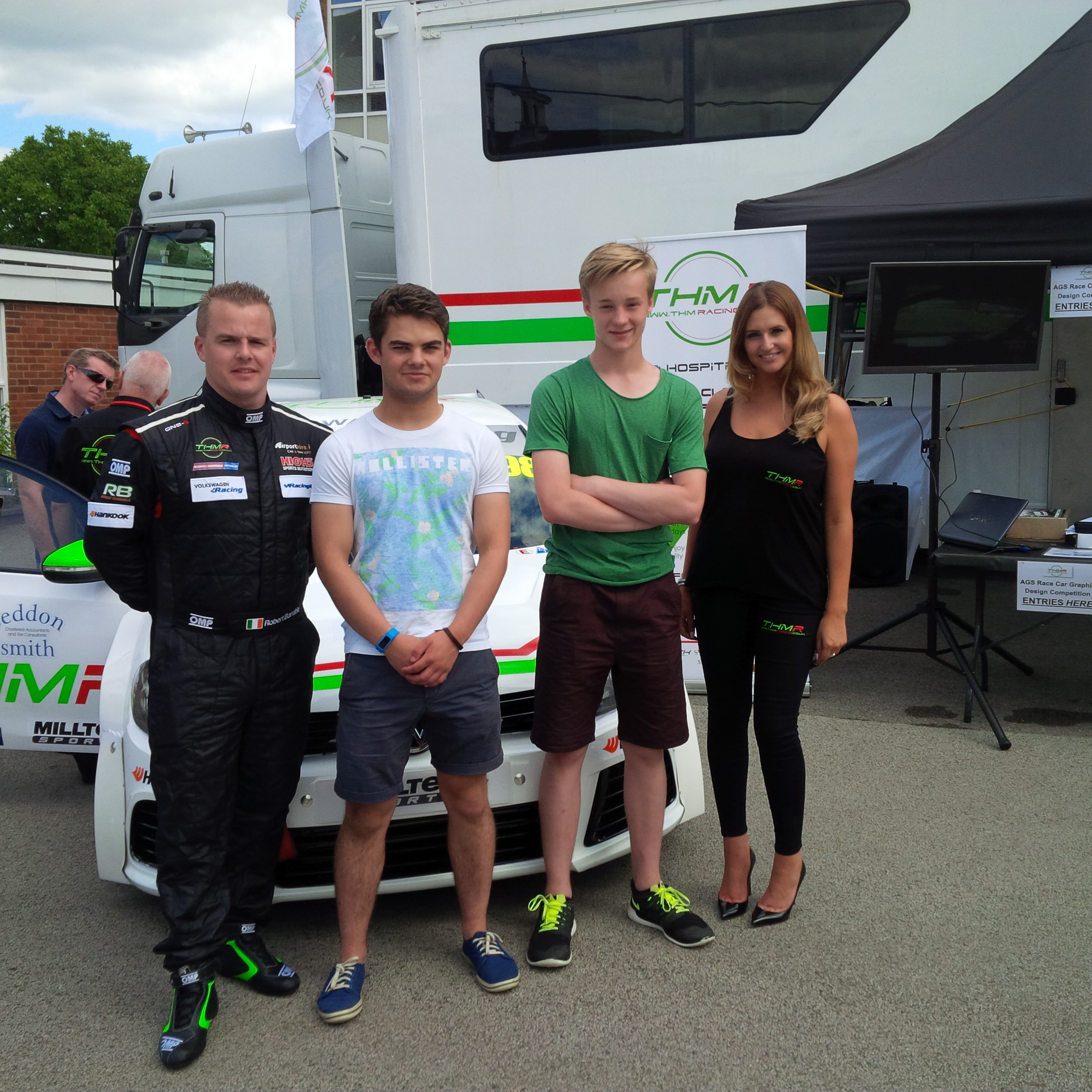 THM Racing - Robert Barrable with competition winners at AGS