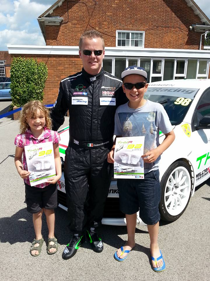 THM Racing -Robert Barrable with competition winner Cameron White and his sister at AGS